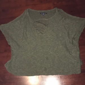 olive green cut out shoulder and neck top